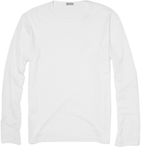 Sunspel Long Sleeved Cotton T Shirt White