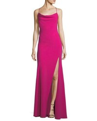 Fame And Partners Crepe Crisscross Back Sleeveless Gown Magenta