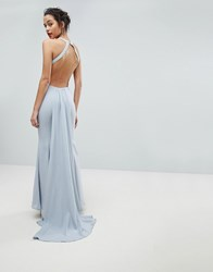 Jarlo Open Back Maxi Dress With Train Detail Soft Grey
