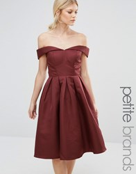 Chi Chi Petite London Off Shoulder Full Prom Midi Dress Chocolate Brown