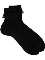 Saint Laurent Ruffled Lace Trim Socks Black