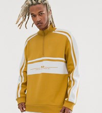Fila Shord Half Zip Embroidered Sweat In Beige Exclusive At Asos