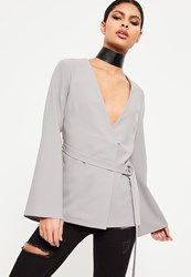 Missguided Grey Belted Bell Sleeve Blazer