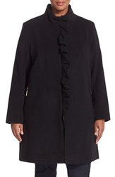 Plus Size Women's Tahari 'Kenya' Ruffle Placket Wool Blend Coat Black