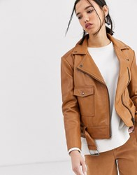 Muubaa Boxy Belted Leather Jacket In Tonal Colour Brown