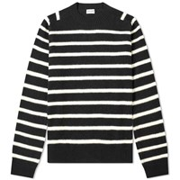 Saint Laurent Wool Felt Stripe Crew Knit Black