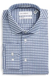 Calibrate Men's Big And Tall Trim Fit Non Iron Check Stretch Dress Shirt Blue Bijou