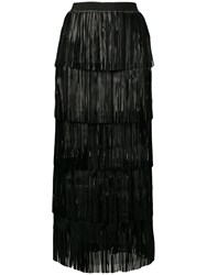 Caban Romantic Long Fringed Tiered Skirt Black