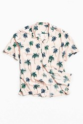 Urban Outfitters Uo Palm Rayon Short Sleeve Button Down Shirt Pink
