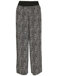 Izabel London Optical Print Wide Leg Trousers Black