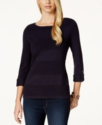 Charter Club Solid Boat Neck Roll Tab Sweater Only At Macy's