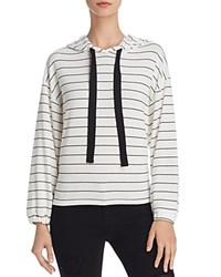 Michelle By Comune Malone Striped Hoodie Sweatshirt White Black