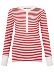 Marella Matera Stripe Silk Detail Jersey Top Red White