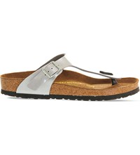 Birkenstock Faux Leather Thong Sandals Silver Syn