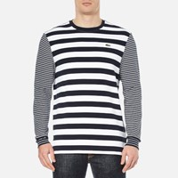 Lacoste L Ve Men's Long Sleeve Stripe T Shirt Navy Blue White