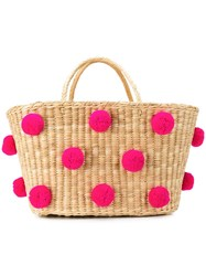 Nannacay Woven Pom Pom Bag Neutrals