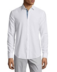 Penguin Core Oxford Long Sleeve Sport Shirt Bright White