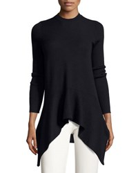 Derek Lam Long Sleeve Crewneck Asymmetric Sweater Gray