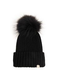 Yves Salomon Fur Pompom Ribbed Knit Hat Black