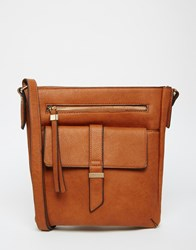 Warehouse Tab Front Cross Body Bag Tan