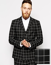Asos Skinny Fit Db Suit Jacket In Check Black
