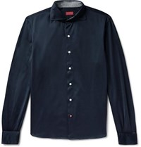 Isaia Slim Fit Cotton Jersey Shirt Midnight Blue