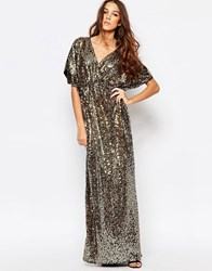 First And I Sequin Kimono Sleeve Maxi Dress Gold Sequin
