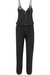 Eberjey Lucie Lace Trimmed Stretch Modal Jersey Jumpsuit Black