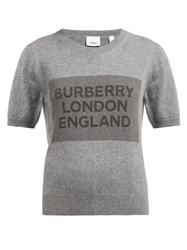 Burberry Logo Knit Round Neck Cashmere T Shirt Grey