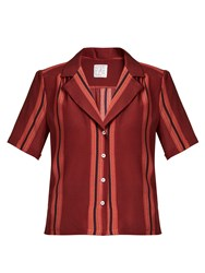 Stella Jean Lunatica Striped Silk Shirt Burgundy Multi