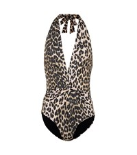 Ganni Leopard Printed Swimsuit Black
