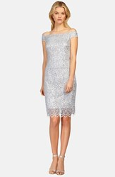 Women's Kay Unger Off The Shoulder Lace Sheath Dress Silver