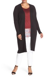 Foxcroft Plus Size Women's Ribbed Duster Cardigan Black