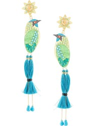 Mercedes Salazar Tropics Bird Earrings Blue