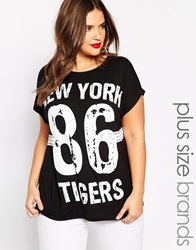 Ax Paris Plus New York Tigers Boyfriend T Shirt Black