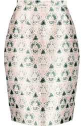 Prabal Gurung Printed Wool And Silk Blend Pencil Skirt Pink