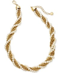 Charter Club Gold Tone Imitation Pearl And Chain Twist Collar Necklace 18 2 Extender Gold White