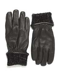 Black Brown Leather And Knit Gloves Black