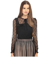 Red Valentino Polka Dot Button Up Blouse Black