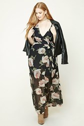 Forever 21 Plus Size Mock Wrap Maxi Dress Black Pink