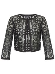 Adrianna Papell Cut Out Faux Leather Cropped Jacket Black