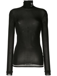 Yang Li Roll Neck Sheer Top Black