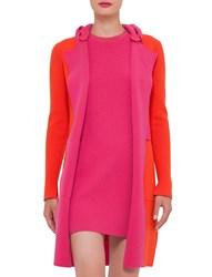 Akris Reversible Long Sleeve Colorblock Coat Rose Zinnia