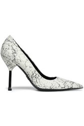 9051036cd49d Michael Kors Cracked Leather Pumps Ivory