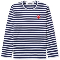 Comme Des Garcons Play Long Sleeve Heart Logo Stripe Tee Blue