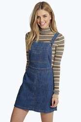 Boohoo A Line Denim Pinafore Dress Blue