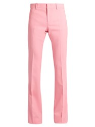Gucci Flared Wool Blend Trousers Pink