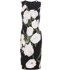 Dolce And Gabbana Printed Wool Crepe Shift Dress Black