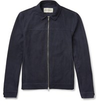 Oliver Spencer Suede Blouson Jacket Midnight Blue