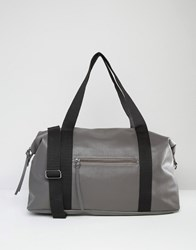 Pieces Textured Travel Bag With Contrast Strap Grey